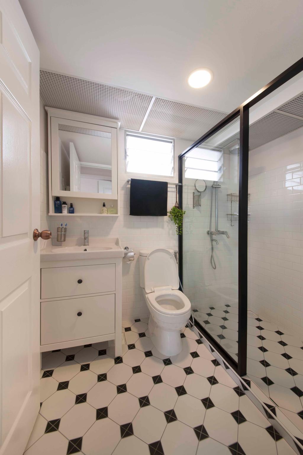 Eclectic, HDB, Bathroom, Sengkang (Block 469A), Interior Designer, DreamCreations Interior, Tiles, Floor Tiles, Bathroom Tiles, Bathroom Vanity, Mirror, Shower Area, Indoors, Interior Design, Room
