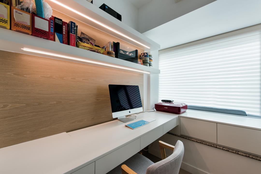 映灣園, Space Design, 當代, 書房, 私家樓, 浴室, Indoors, Interior Design, Room, Desk, Furniture, Table