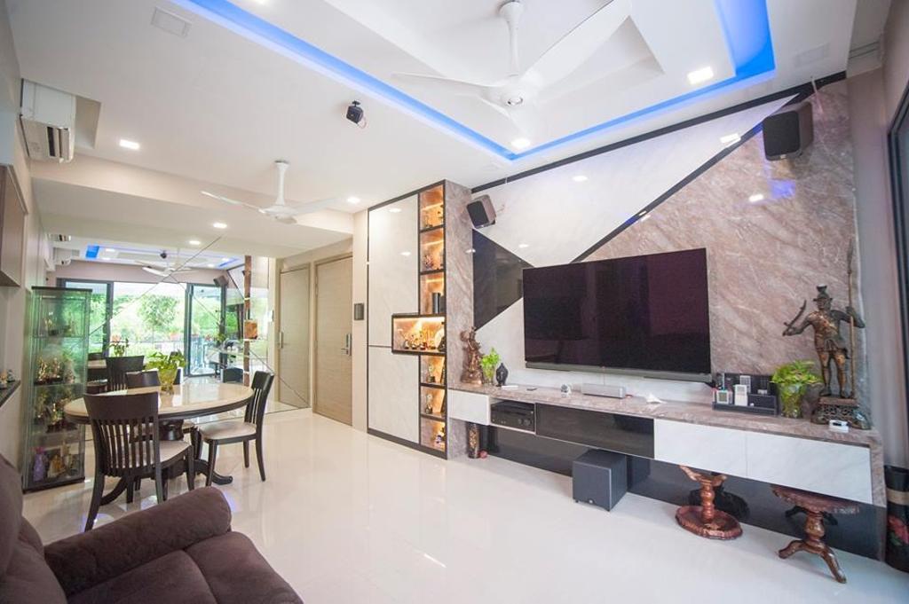 Contemporary, Condo, Living Room, Pasir Ris Grove (Block 123), Interior Designer, EightySeven Studio