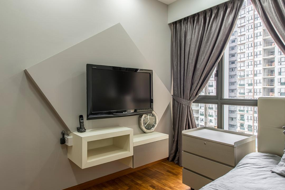 Twin Waterfalls (Block 104), Chapter One Interior Design, Industrial, Bedroom, Condo, Tv Cabinets, Shelves, Feature Wall, Bedside Table, Curtains, Electronics, Lcd Screen, Monitor, Screen
