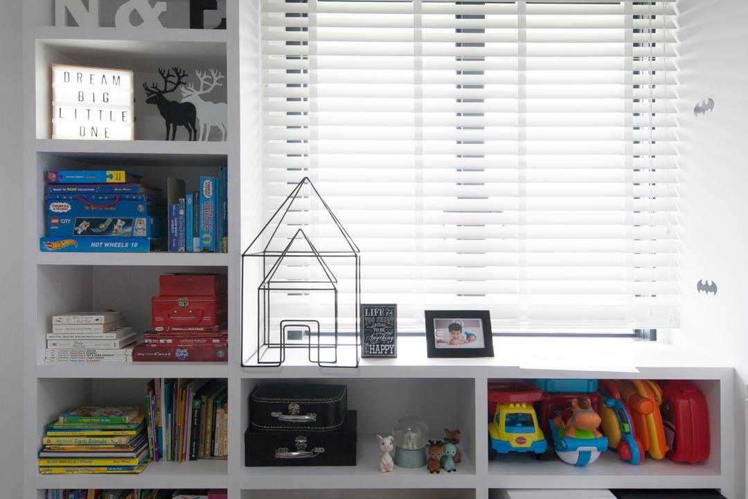 SkyTerrace @ Dawson (Block 89), Dyel Design, Minimalistic, Bedroom, HDB, Bookshelf, Shelves, Home Decor, Home Decorative Items, Blind, Bookcase, Furniture, Luggage, Suitcase