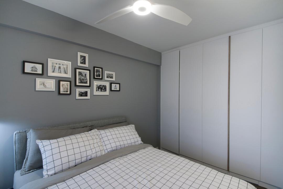 SkyTerrace @ Dawson (Block 89), Dyel Design, Minimalistic, Bedroom, HDB, Wall Art, Wall Decor, Wall Frame, White, Grey, Wardrobe, Ceiling Fan With Light, Hidden Door, Indoors, Interior Design, Room