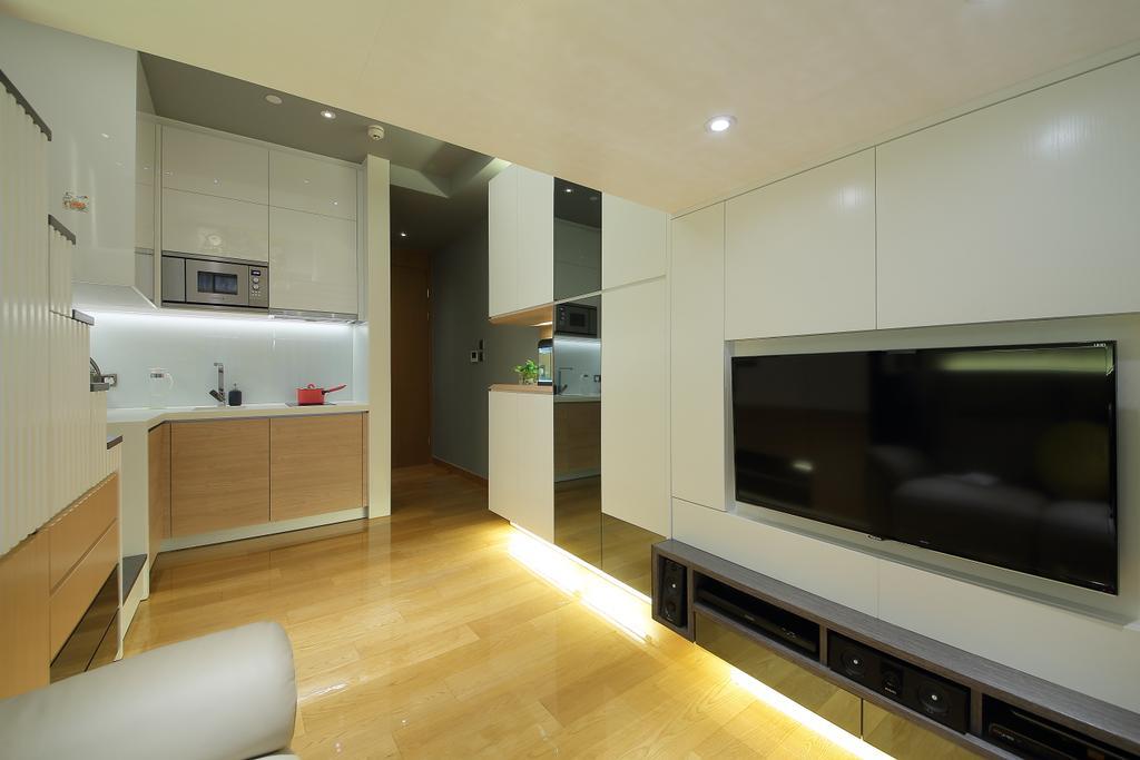 摩登, 私家樓, 客廳, 喜點, 室內設計師, Rome Design, Appliance, Electrical Device, Microwave, Oven, Banister, Handrail, Flooring