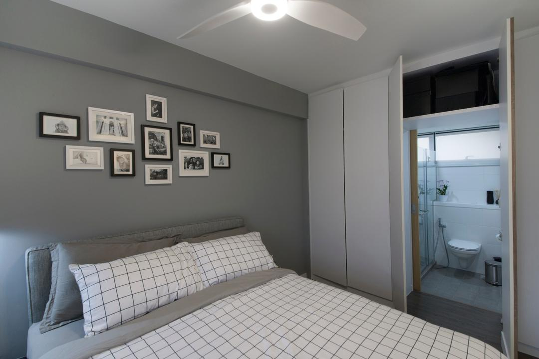 SkyTerrace @ Dawson (Block 89), Dyel Design, Minimalistic, Bedroom, HDB, Wall Art, Wall Decor, Wall Frame, White, Grey, Wardrobe, Bathroom Entrance, Bathroom Door, Ceiling Fan With Light, Hidden, Hidden Door, Bathroom, Indoors, Interior Design, Room