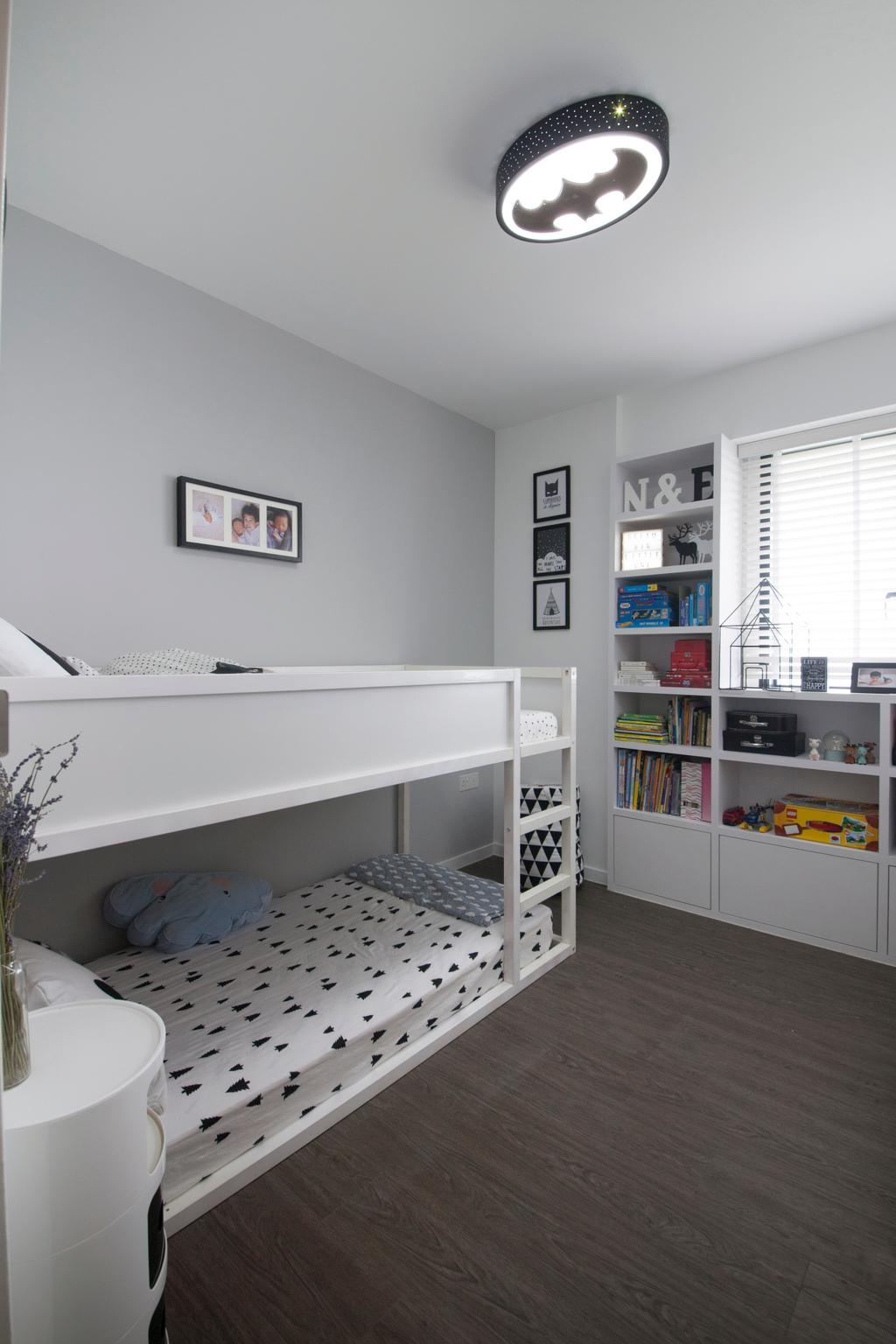 Minimalistic, HDB, Bedroom, SkyTerrace @ Dawson (Block 89), Interior Designer, Dyel Design, Bunk Bed, Double Decker, Wooden Flooring, Kids Room, Kids, Children, Batman, Bookshelf, Shelves, Batman Light