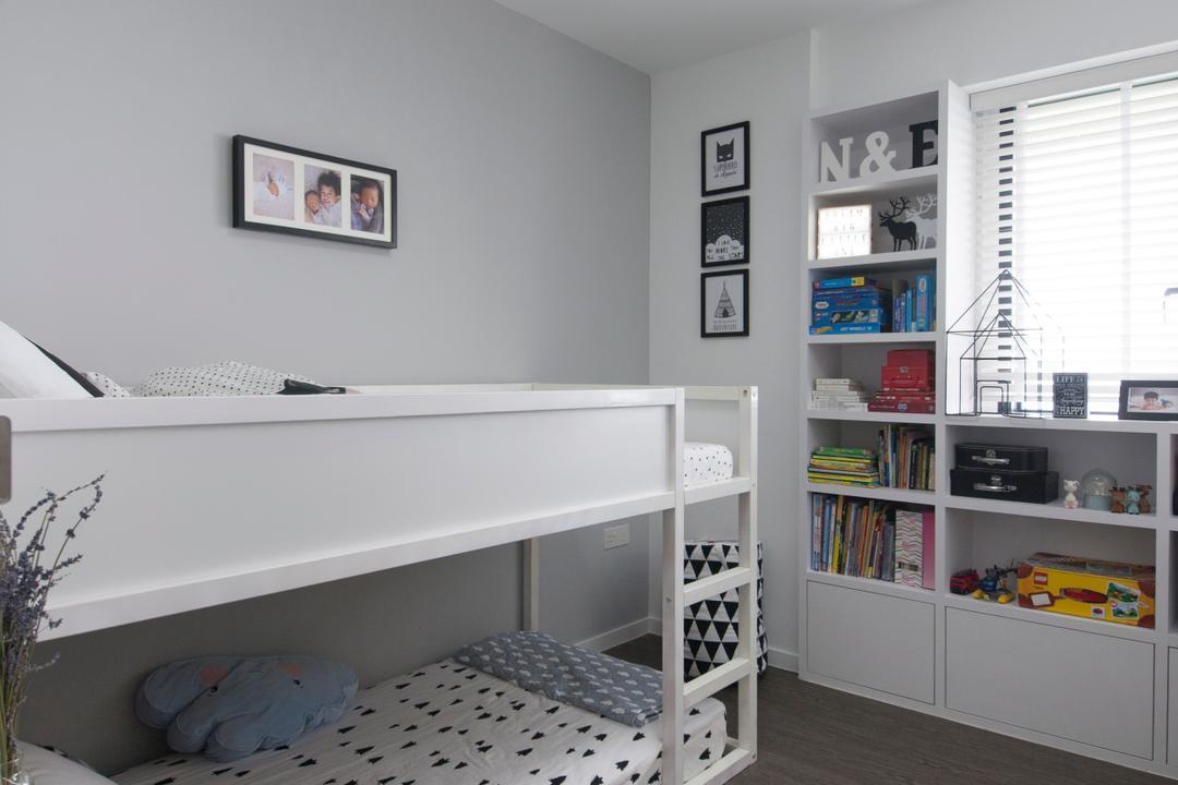 SkyTerrace @ Dawson (Block 89), Dyel Design, Minimalistic, Bedroom, HDB, Bunk Bed, Double Decker, Wooden Flooring, Kids Room, Kids, Children, Batman, Bookshelf, Shelves, Batman Light