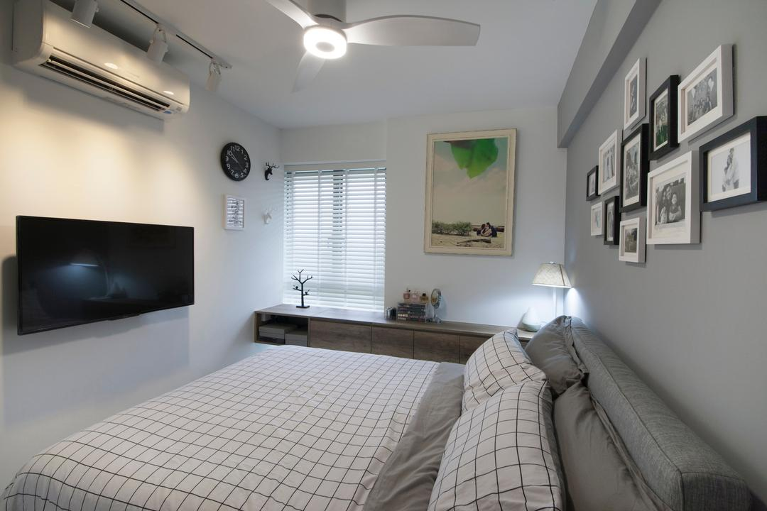 SkyTerrace @ Dawson (Block 89), Dyel Design, Minimalistic, Bedroom, HDB, Wall Art, Wall Decor, Wall Frames, White, Grey, Shelves, Ceiling Fan With Light, Blinds