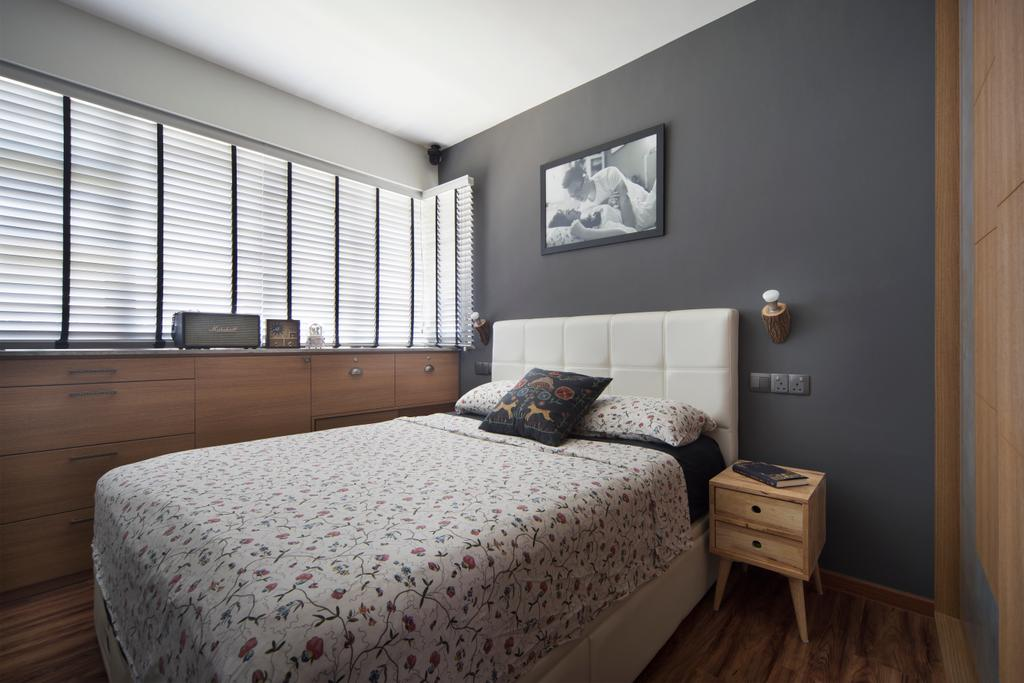 Contemporary, HDB, Bedroom, Clementi Avenue, Interior Designer, Fuse Concept, Indoors, Interior Design, Room, Bed, Furniture, Drawer