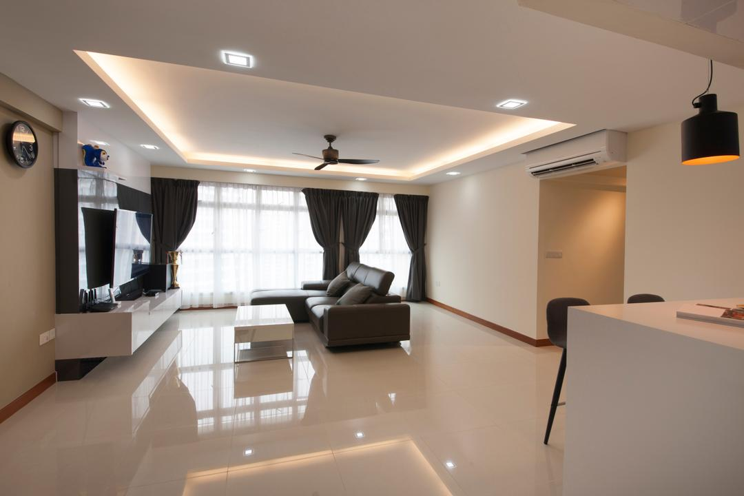 Waterway Woodcress (Block 665A), Starry Homestead, Modern, Living Room, HDB, Floor Tiles, Tiles, Space, Spacious, False Ceiling, Feature Wall, White, Cove Lighting, Recessed Lighting, Sofa, Couch, Leather Sofa, Coffee Table, Indoors, Interior Design, Conference Room, Meeting Room, Room