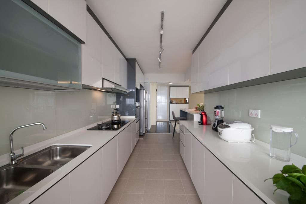 Modern, HDB, Kitchen, Waterway Woodcress (Block 665A), Interior Designer, Starry Homestead, Cabinets, Cabinetry, White Cabinets, Kitchen Cabinets, Kitchen Sink, Floor Tiles, Stove, Flora, Jar, Plant, Potted Plant, Pottery, Vase, Jug, Pitcher, Water Jug, Corridor