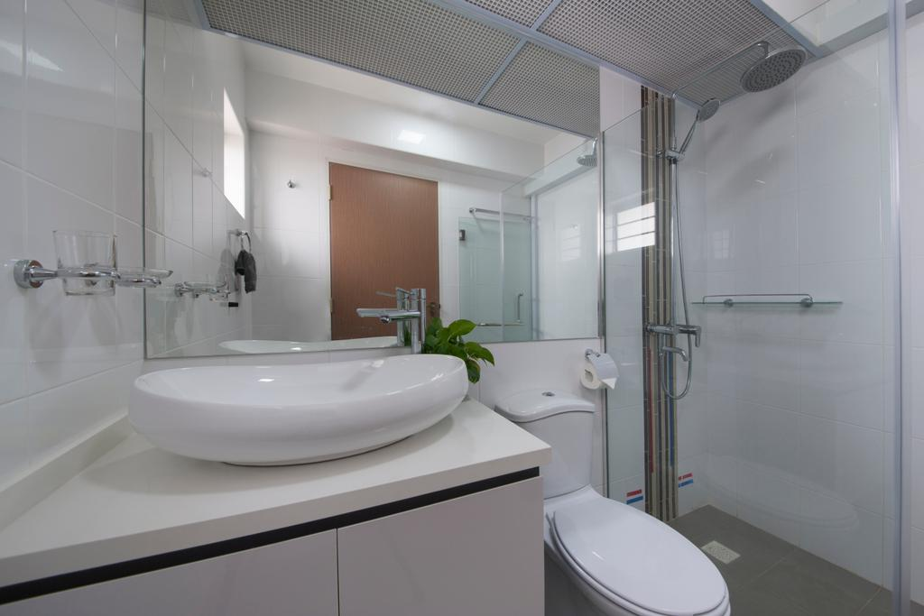 Modern, HDB, Bathroom, Waterway Woodcress (Block 665A), Interior Designer, Starry Homestead, Bathroom Sink, Bathroom Vanity, Mirror, Shower Area, Toilet, Door, Sliding Door, Indoors, Interior Design, Room