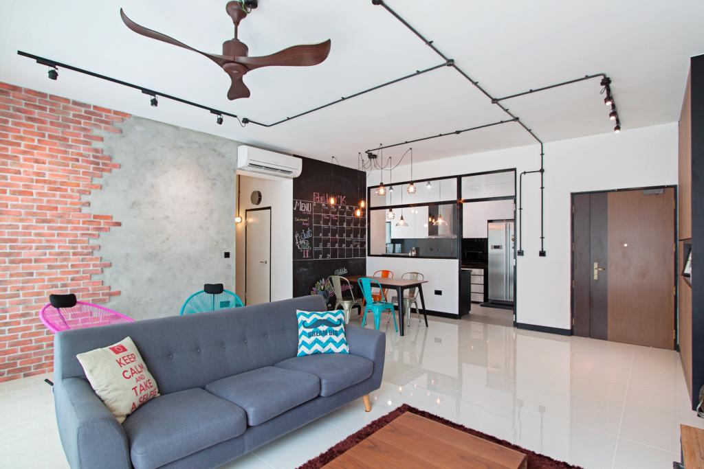 Scandinavian, HDB, Living Room, Waterway Ridges, Interior Designer, Luova Project Services, Couch, Furniture, Building, Housing, Indoors, Loft