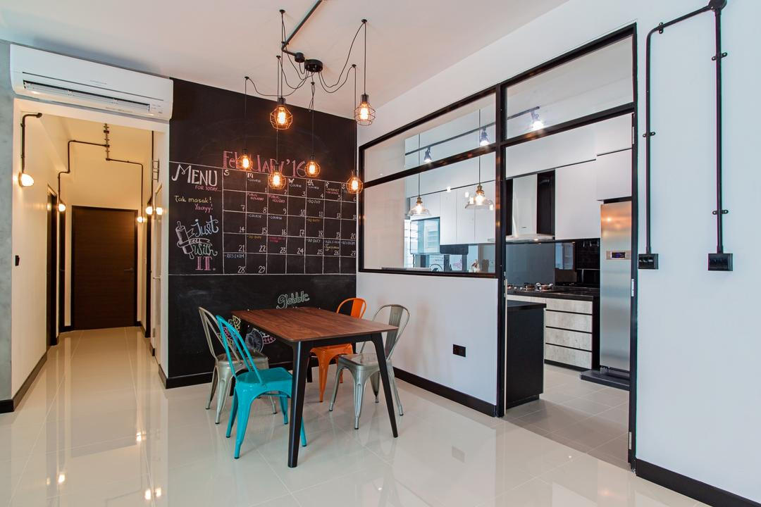 Waterway Ridges, Luova Project Services, Scandinavian, Dining Room, HDB, Dining Table, Furniture, Table, Basement, Indoors, Room, Chair