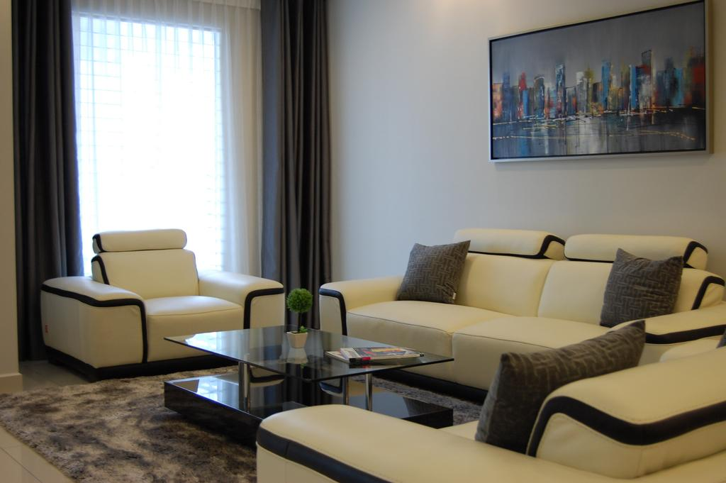 Transitional, Landed, Living Room, Puchong, Interior Designer, Meridian Interior Design, Dining Table, Furniture, Table, Couch, Indoors, Interior Design, Room