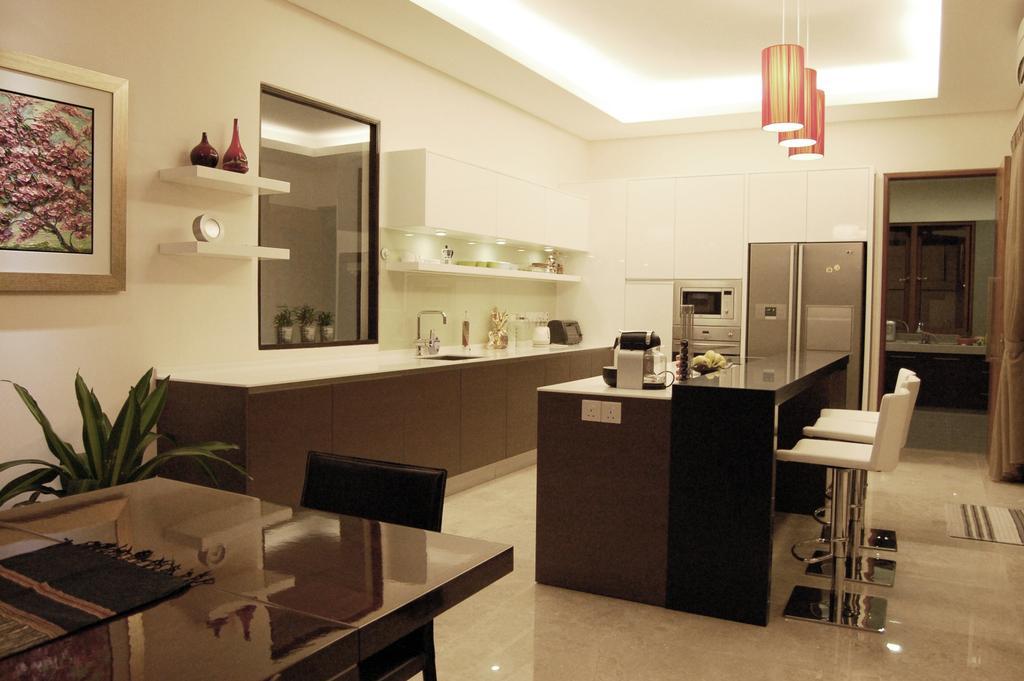 Modern, Landed, Dining Room, Damansara, Interior Designer, Meridian Interior Design, Flora, Jar, Plant, Potted Plant, Pottery, Vase, Appliance, Electrical Device, Oven, Indoors, Interior Design, Room, Art, Painting