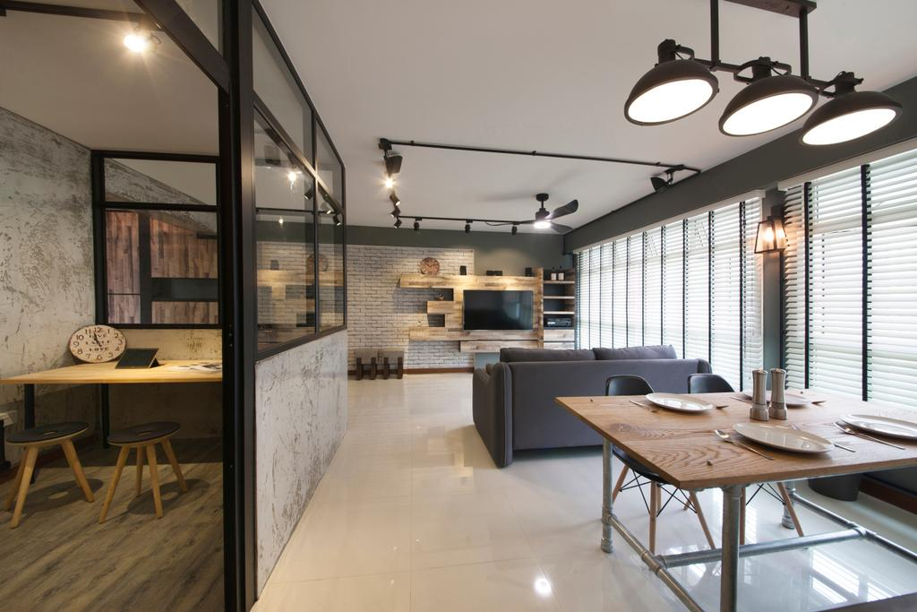 Industrial, HDB, Dining Room, Punggol Drive (Block 664A), Interior Designer, Starry Homestead, Chair, Furniture, Dining Table, Table