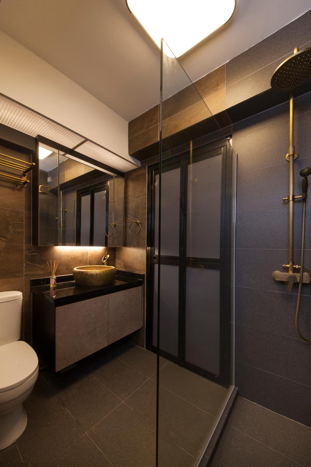 Industrial, HDB, Bathroom, Punggol Drive (Block 664A), Interior Designer, Starry Homestead, Indoors, Interior Design, Room, Cross, Emblem