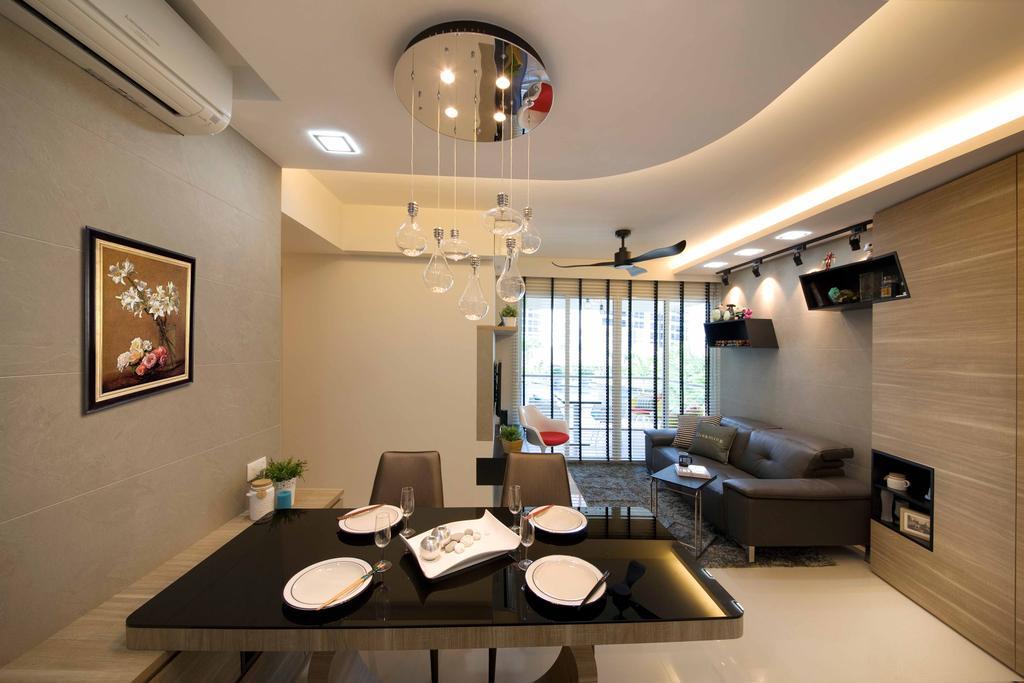 Modern, Condo, Dining Room, Tampines Trilliant, Interior Designer, M3 Studio, Indoors, Interior Design, Room, Art, Painting
