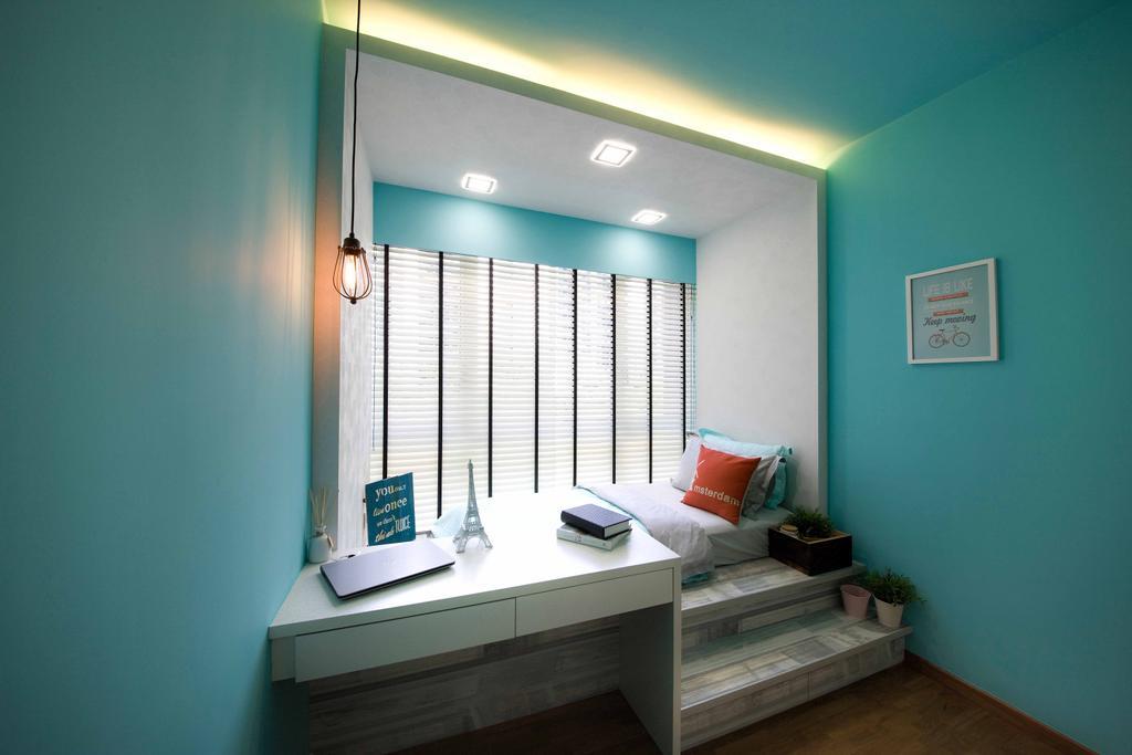 Modern, Condo, Bedroom, Tampines Trilliant, Interior Designer, M3 Studio, Bathroom, Indoors, Interior Design, Room, Lighting