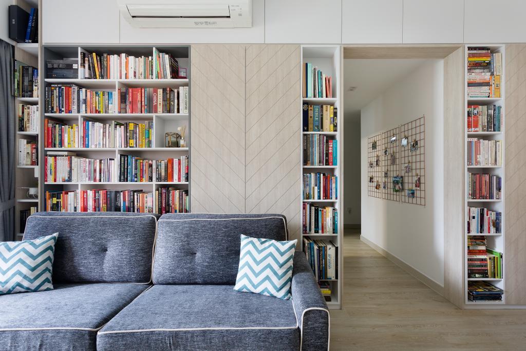 Contemporary, Condo, Living Room, Jewel @ Buangkok, Interior Designer, Fuse Concept, Bookcase, Furniture, Couch