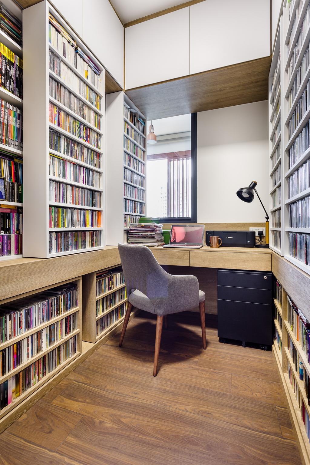 Contemporary, Condo, Study, Jewel @ Buangkok, Interior Designer, Fuse Concept, Chair, Furniture, Indoors, Interior Design, Library, Room, Bookcase