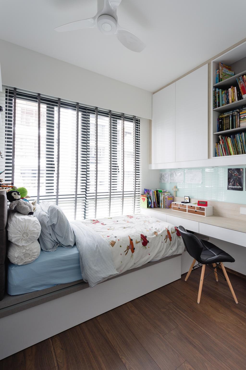 Contemporary, Condo, Bedroom, Jewel @ Buangkok, Interior Designer, Fuse Concept, Human, People, Person, Bookcase, Furniture, Indoors, Interior Design, Room, Shelf
