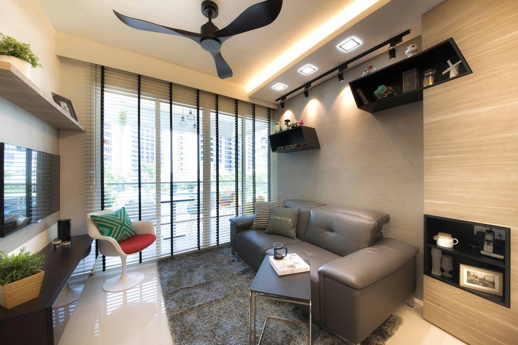 Modern, Condo, Living Room, Tampines Trilliant, Interior Designer, M3 Studio, Couch, Furniture, Flora, Jar, Plant, Potted Plant, Pottery, Vase, Chair, Indoors, Interior Design