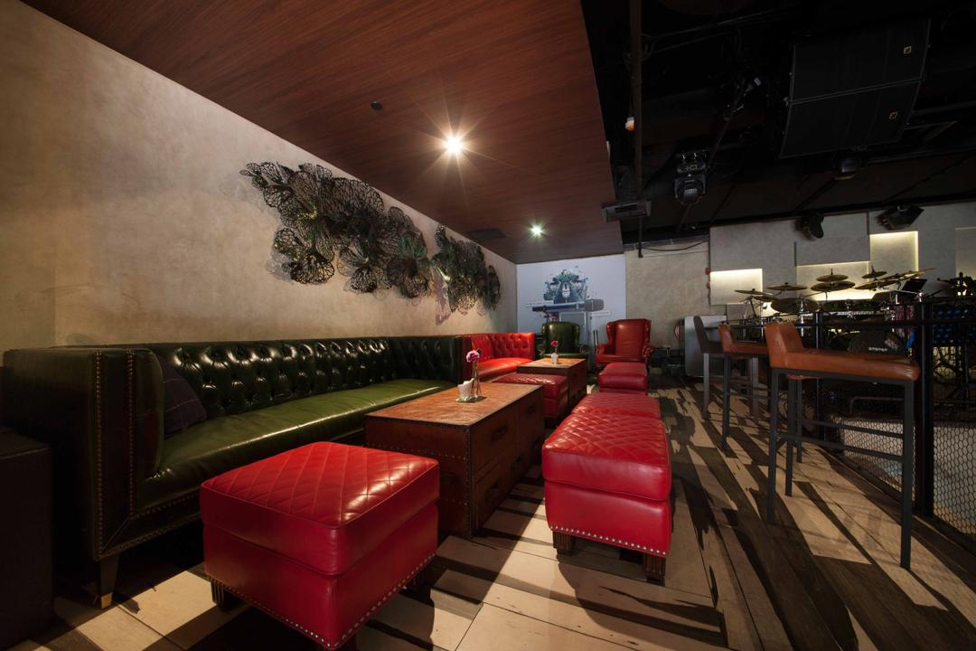 Berlin at CHIJMES, Space Define Interior, Industrial, Commercial, Long Sofa, Dining Tables, Sofa Bench, Wood Flooring, Cement Screed Wall, Down Light, Chair, Furniture, Couch