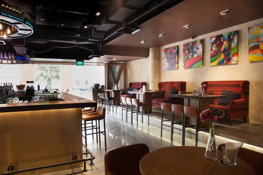 Berlin at CHIJMES, Space Define Interior, Industrial, Commercial, Sofa, Dining Tables, Dining Stools, Dining Chairs, Down Light, Wood Ceiling, Bar Counter, Cove Light, Dining Room, Indoors, Interior Design, Room, Cafe, Restaurant, Chair, Furniture
