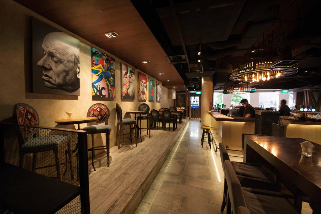 Berlin at CHIJMES, Commercial, Interior Designer, Space Define Interior, Industrial, Cement Screed Tiles, Wood Floor, Platform, Art Pieces, Dining Tables, Dining Chairs, Light, Cove Light, Bar Counter, Down Light, Chair, Furniture, Pub, Bench, Head, Cafe, Restaurant