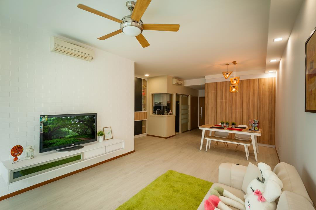 The Quintet, Le Interi, Minimalistic, Living Room, Condo, Ceiling Fan With Light, Brick Walls, Tv Console, Tv Cabinet, Sofa, Couch, Fabric Sofa, Carpet, Recessed Lighting, Dining Table, Dining Room Chairs, Cabinet, Pendant Lamp, Hanging Lamps, Light Fixture