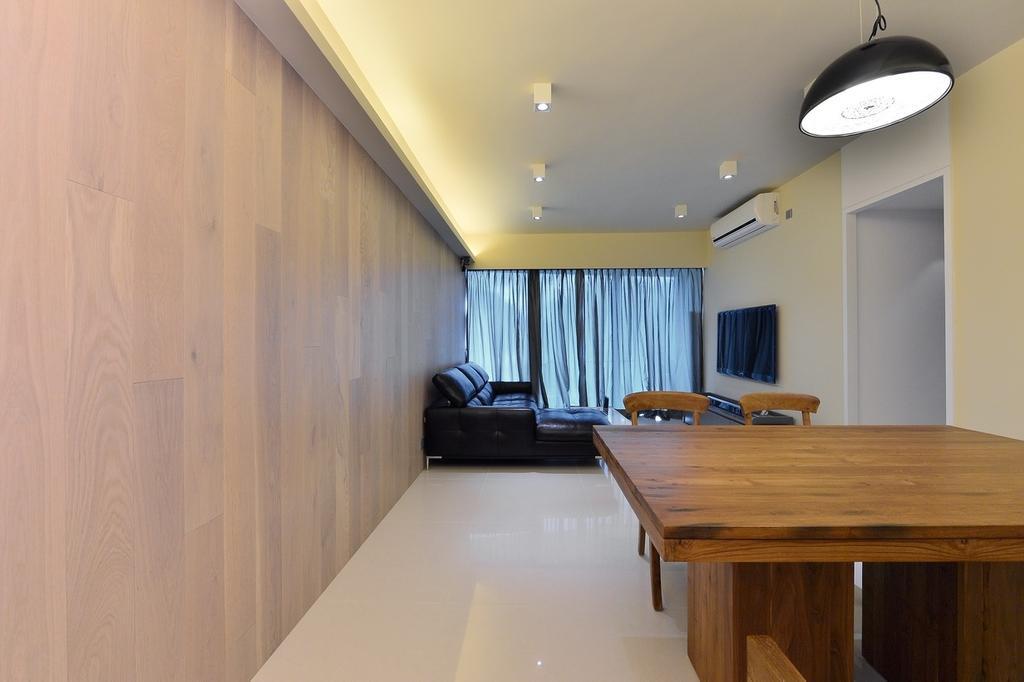 摩登, 私家樓, 飯廳, 尚御, 室內設計師, KOO interior design, Couch, Furniture, Dining Table, Table, Hardwood, Stained Wood, Wood, Flooring