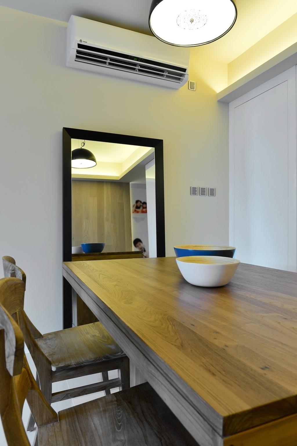 摩登, 私家樓, 飯廳, 尚御, 室內設計師, KOO interior design, Light Fixture, Lighting, Cup, Plywood, Wood