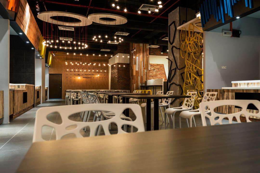 Food Court @ UNITAR, Think Studio, Contemporary, Commercial, Dining Table, Dining Chair, Chairs, Wood, Panels, Wood Panels, Pendant Lighting, Hanging Lighting, Chair, Furniture, Table, Lighting, Bathroom, Indoors, Interior Design, Room, Dining Room