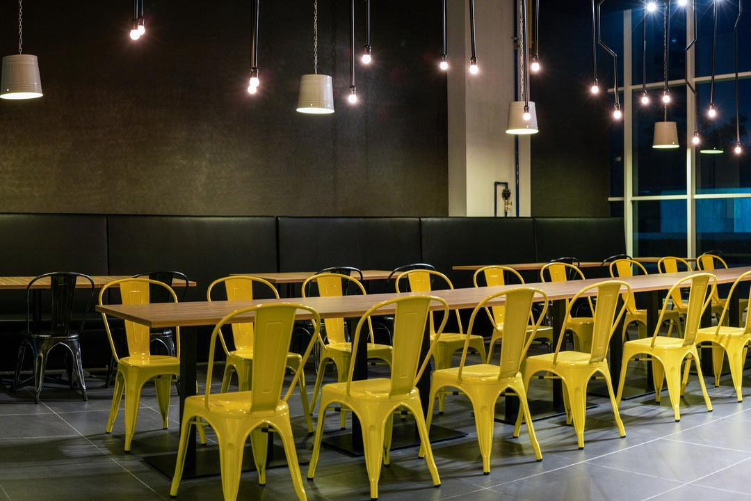 The Burger Shop @ UNITAR, Think Studio, Industrial, Commercial, Dining Table, Dining Chairs, Chairs, Metal Chairs, Steel Chairs, Pendant Lighting, Pendant Lamp, Long Table, Dark, Stools, Dark Colours, Hanging Lights, Window, Chair, Furniture