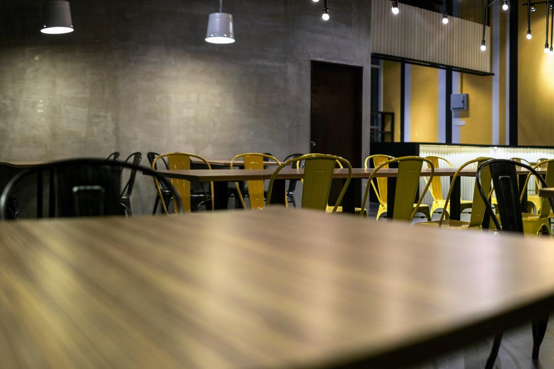 The Burger Shop @ UNITAR, Think Studio, Industrial, Commercial, Dining Table, Chair, Dining Chairs, Pendant Lighting, Pendant Lamp, Hanging Lightings, Cement Screed, Conference Room, Indoors, Meeting Room, Room, Furniture, Table, Luggage, Suitcase