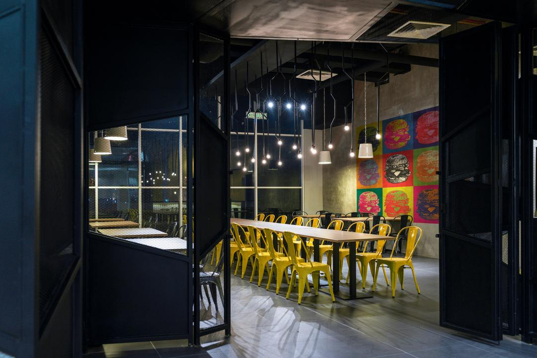 The Burger Shop @ UNITAR, Think Studio, Industrial, Commercial, Dining Table, Dining Chairs, Metal Chair, Pendant Lighting, Hanging Lighting, Pendant Lamps, Dark, Wall Decor, Painting, Cement Screed, Long Table, Restaurant, Cafe, Chair, Furniture