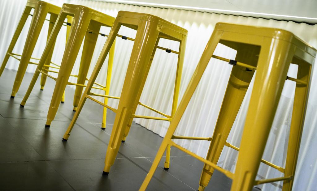 The Burger Shop @ UNITAR, Commercial, Interior Designer, Think Studio, Industrial, Stools, High Stools, Yellow, Yellow Furniture, Bar Stools