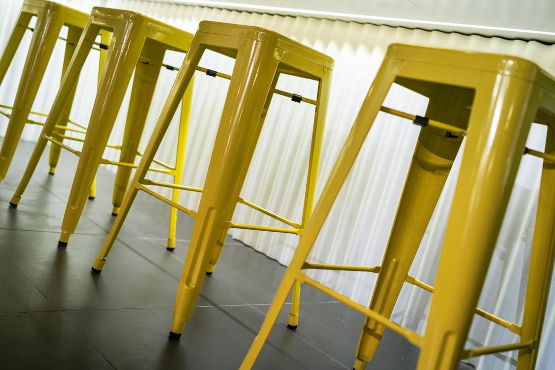 The Burger Shop @ UNITAR, Think Studio, Industrial, Commercial, Stools, High Stools, Yellow, Yellow Furniture, Bar Stools