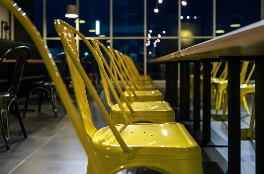 The Burger Shop @ UNITAR, Commercial, Interior Designer, Think Studio, Industrial, Dining Chairs, Chair, Yellow, Yellow Chairs, Dining Table, Metal Chairs, Furniture