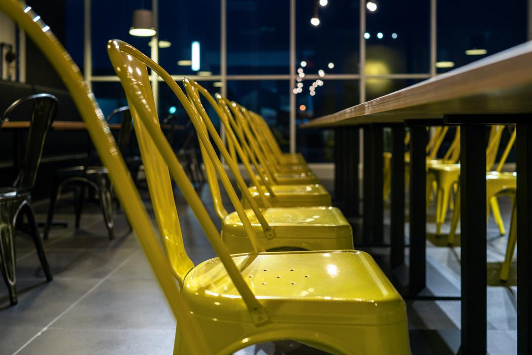 The Burger Shop @ UNITAR, Think Studio, Industrial, Commercial, Dining Chairs, Chair, Yellow, Yellow Chairs, Dining Table, Metal Chairs, Furniture