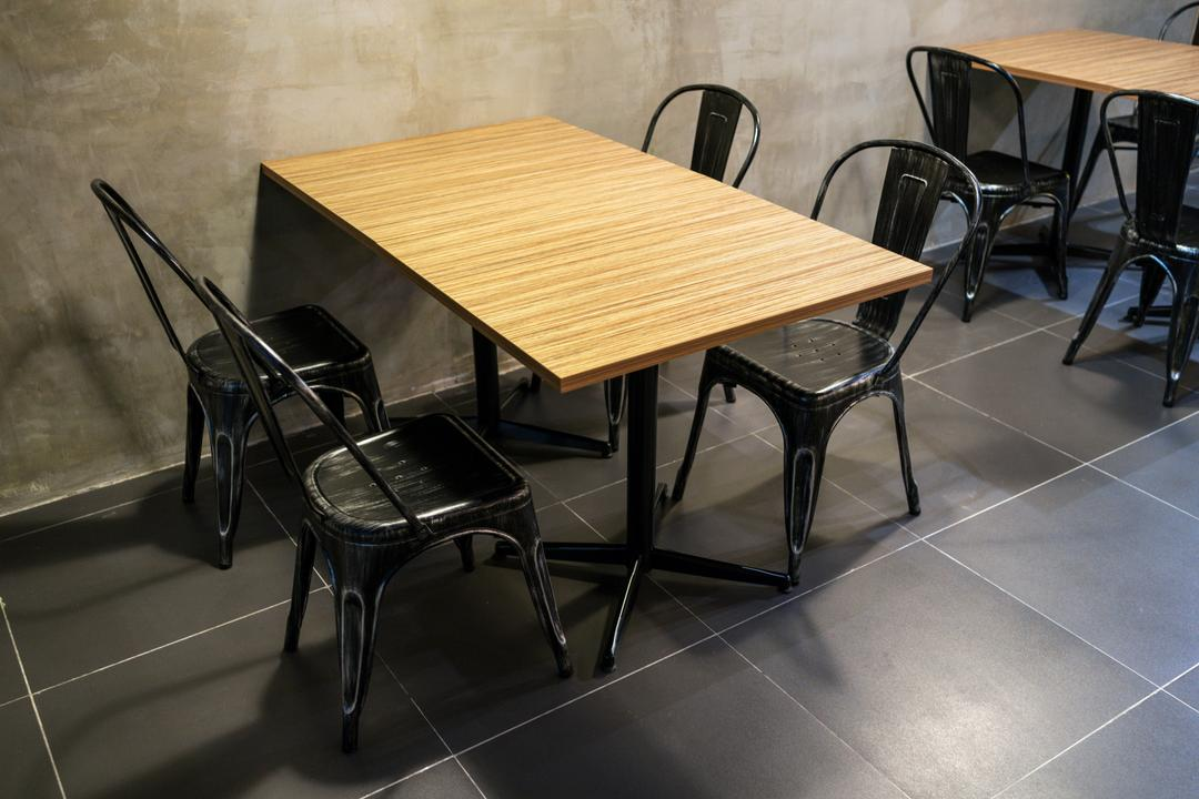 The Burger Shop @ UNITAR, Think Studio, Industrial, Commercial, Dining Table, Dining Chairs, Chairs, Metal Chairs, Cement Screed, Dark, Chair, Furniture, Table