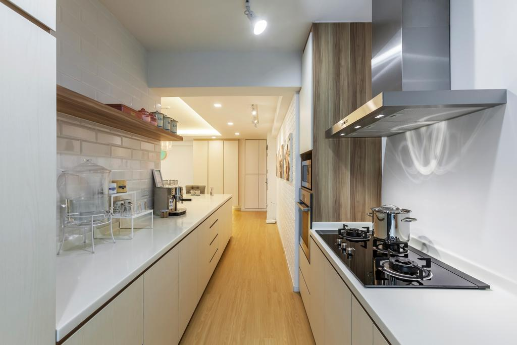 Minimalistic, HDB, Kitchen, Anchorvale (Block 329), Interior Designer, The Interior Lab, Exhaust Hood, Stove, Kitchen Cabinets, Cabinetry, White Cabinets, Brick Walls, Shelves, Wooden Flooring, Wood, Indoors, Interior Design, Room