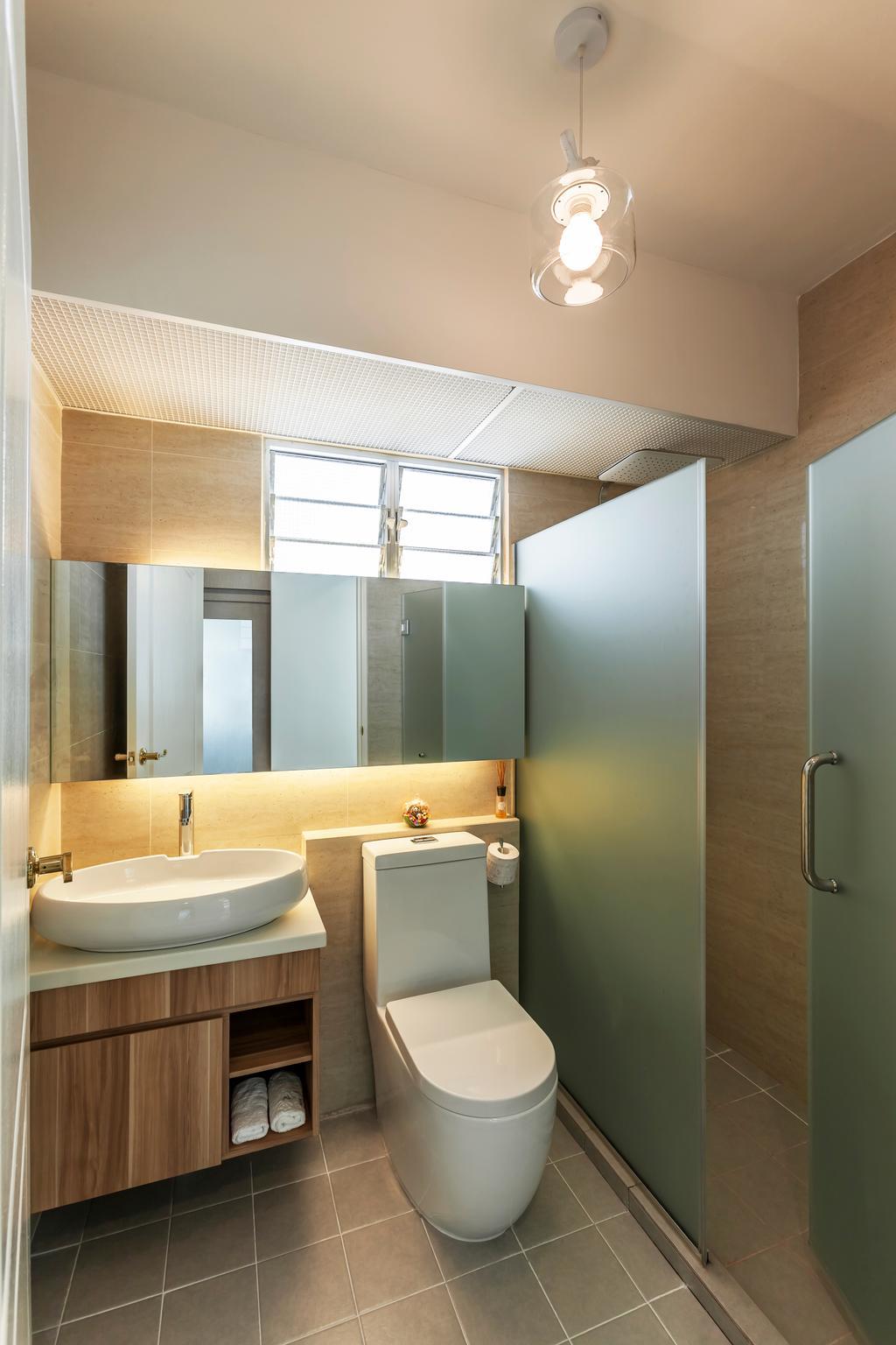 Minimalistic, HDB, Bathroom, Anchorvale (Block 329), Interior Designer, The Interior Lab, Pendant Lamps, Hanging Lamps, Bathroom Vanity, Mirror, Floor Tiles, Bathroom Tiles, Indoors, Interior Design, Room, Sink