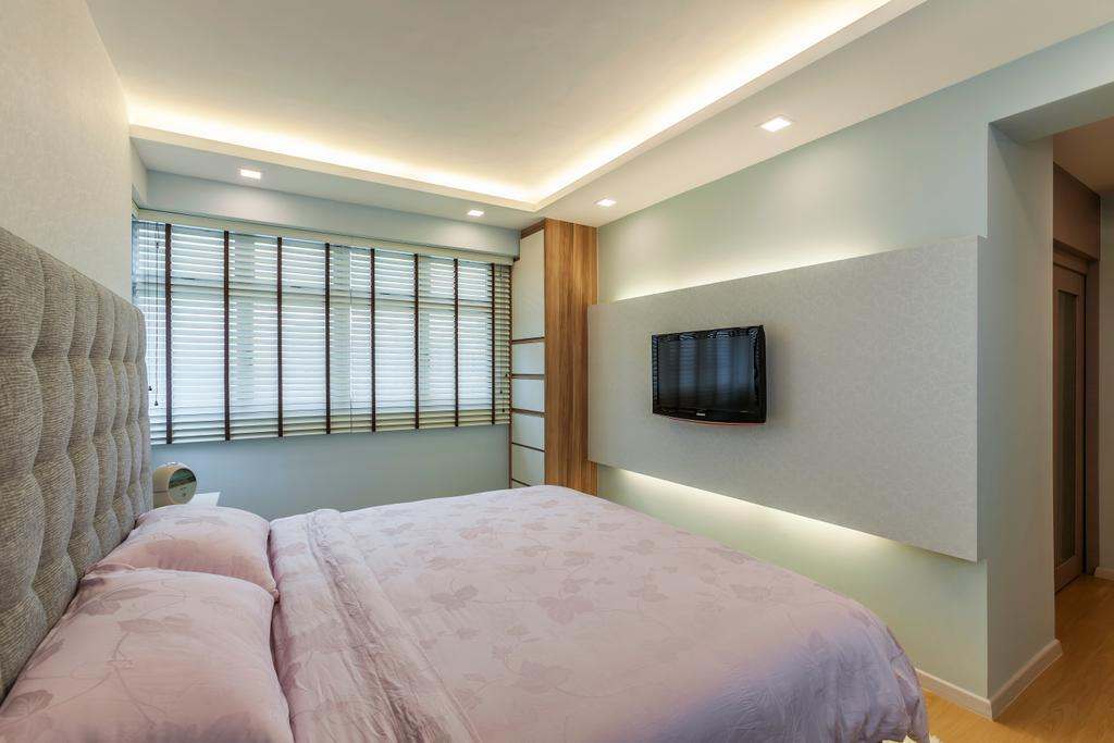Minimalistic, HDB, Bedroom, Anchorvale (Block 329), Interior Designer, The Interior Lab, Feature Wall, Cove Lighting, Recessed Lighting, Blinds, Headboard, Cabinets, Bed, Furniture, Indoors, Interior Design, Room
