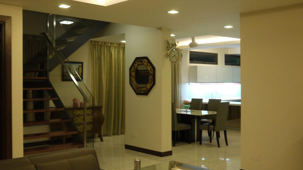 Modern, Landed, Living Room, 7 Jalan Pelata, Interior Designer, Minterior Project Sdn Bhd, Banister, Handrail, Staircase, Dining Table, Furniture, Table, Flora, Jar, Plant, Potted Plant, Pottery, Vase