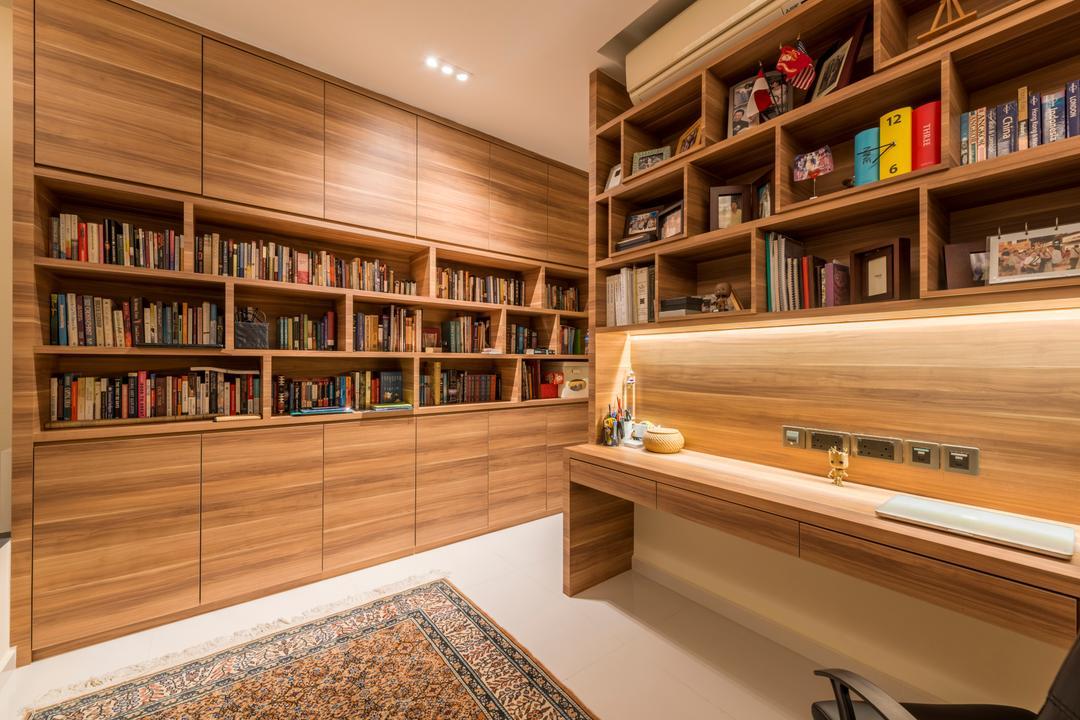 Interlace, Project Guru, Contemporary, Study, Condo, Bookcase, Furniture, Indoors, Interior Design, Library, Room