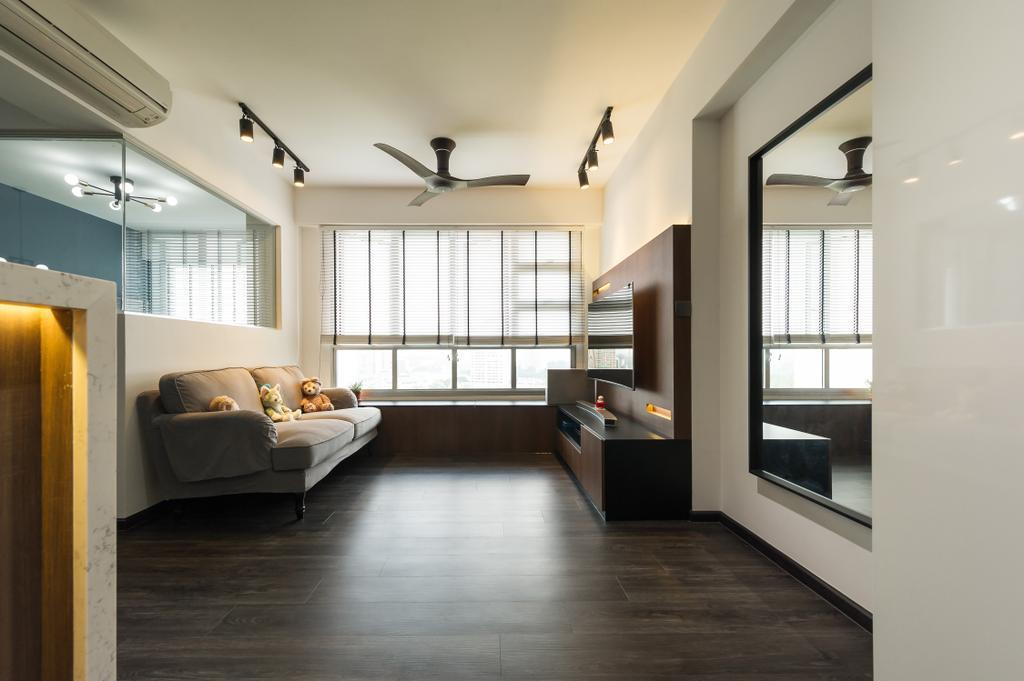 Modern, HDB, Living Room, Toa Payoh (Block 130B), Interior Designer, ELPIS Interior Design, Scandinavian, Flooring, Indoors, Interior Design, Kitchen, Room