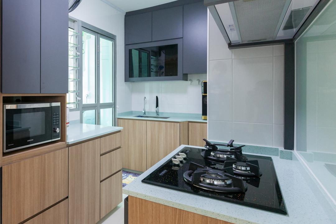 Clementi Avenue 4, Ascenders Design Studio, Modern, Scandinavian, Kitchen, HDB, Indoors, Interior Design, Room, Appliance, Electrical Device, Oven, Stove, Microwave, Bathroom