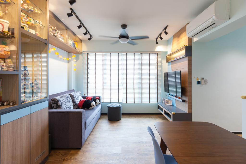 Modern, HDB, Living Room, Clementi Avenue 4, Interior Designer, Ascenders Design Studio, Scandinavian, Plywood, Wood, Flooring, Couch, Furniture